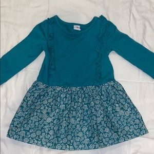 Baby gap long sleeve teal and floral dress